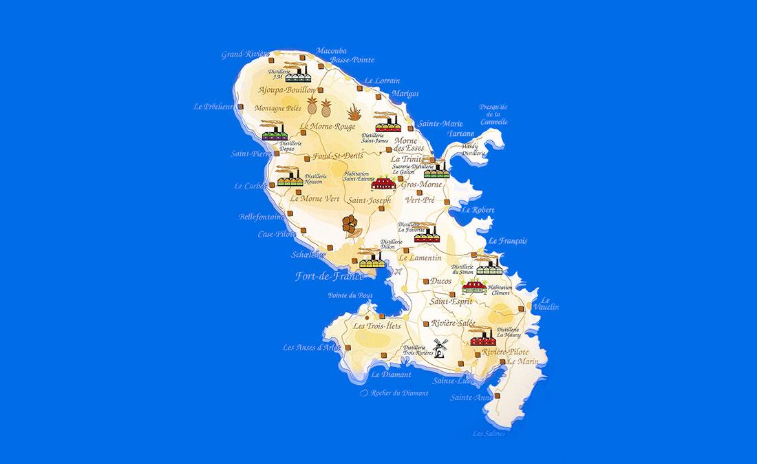Distilleries map in Martinique